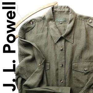 J.L Powell 100% Linen XXL Button Down Shirt